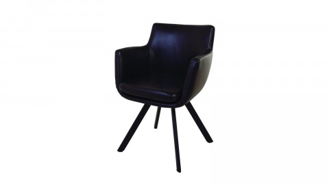 Fauteuil noir en simili cuir – Collection Carl