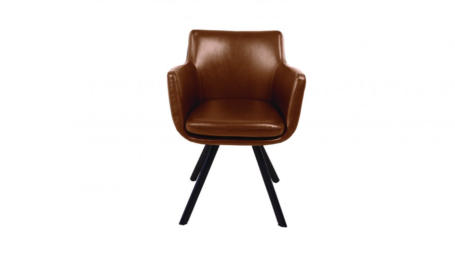 Fauteuil marron en simili cuir – Collection Carl