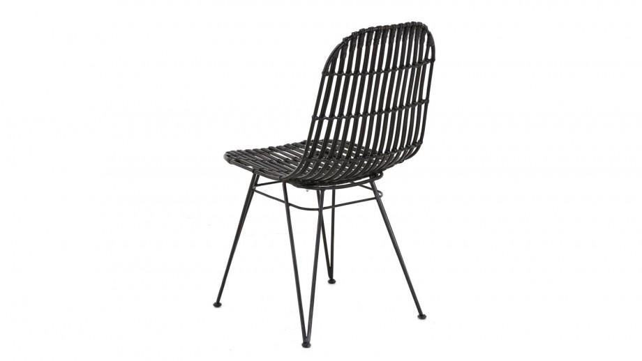 Lot de 2 chaises en kubu noir – Collection Melody