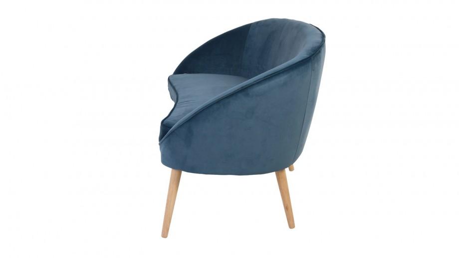 Canapé 2 places en velours bleu foncé – Collection Safir