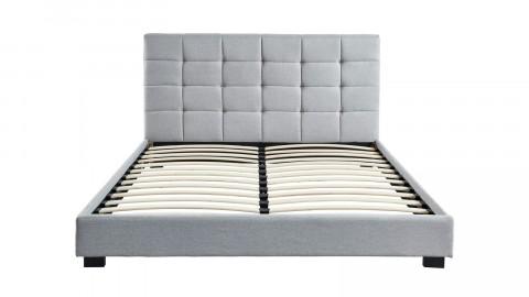 Lit adulte avec tête de lit capitonnée en tissu gris clair, sommier à latte, 160x200- Collection William