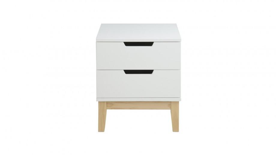 Chevet 2 tiroirs en bois laqué blanc – Collection Buca
