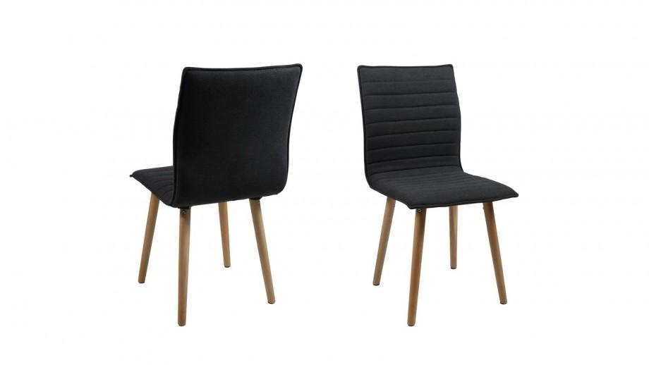 Lot de 2 chaises en tissu rembourré gris piètement en chêne – Collection Karla