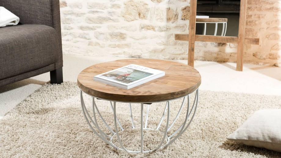 Gøran - Table basse coque blanche 60 x 60 cm