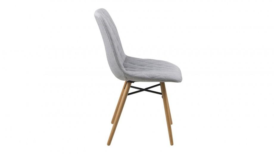 Lot de 2 chaises scandinaves en tissu gris clair capitonné piètement hêtre – Collection Lif