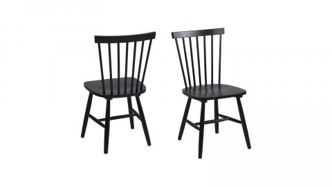 Lot de 2 chaises en bois d'hévéa noir – Collection Riano