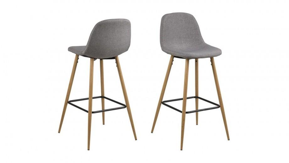 Lot de 2 tabourets de bar en tissu gris clair et bois – Collection Wilma