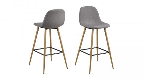 Lot de 2 tabourets de bar en tissu gris clair piètement effet bois – Collection Wilma
