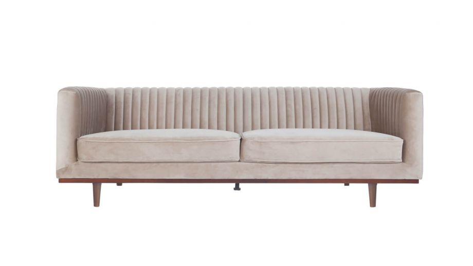 Canapé 3 places en velours beige – Collection Dante