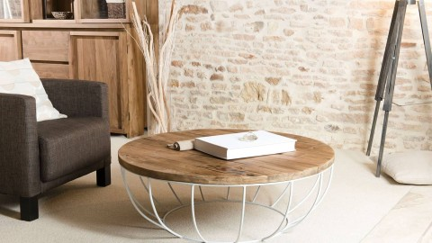 Gøran - Table basse coque blanche 100 x 100 cm