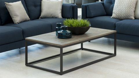 Table basse rectangle en bois et métal – Collection Rockwood