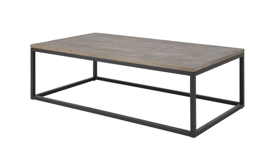 Table basse rectangle en bois et métal – Collection Rockwood