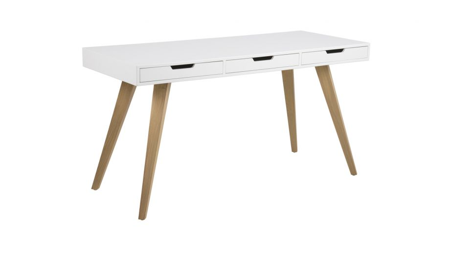 Bureau style scandinave 3 tiroirs collection estelle for Meuble bureau 3 tiroirs