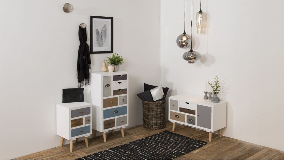 Meuble de rangement bas multicolore 5 tiroirs 1 porte – Collection Thais