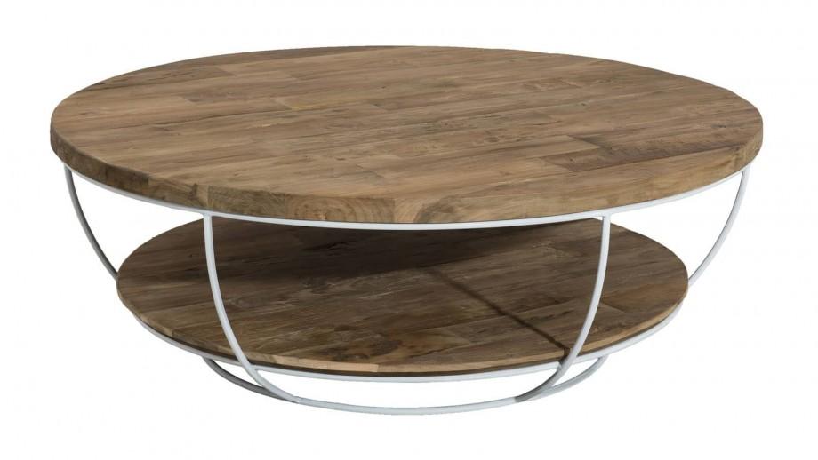 Gøran - Table basse coque blanche double plateau 100 x 100 cm