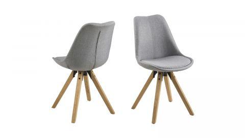 Lot de 2 chaises en tissu gris clair et bois – Collection Dima