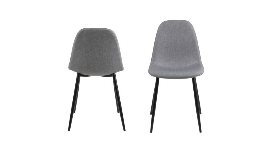 Lot de 4 chaises en tissu gris clair piètement conique en métal noir – Collection Wilma