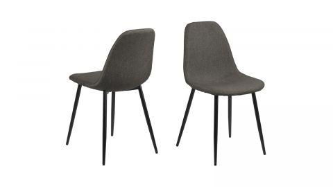 Lot de 4 chaises en tissu anthracite piètement conique en métal noir – Collection Wilma