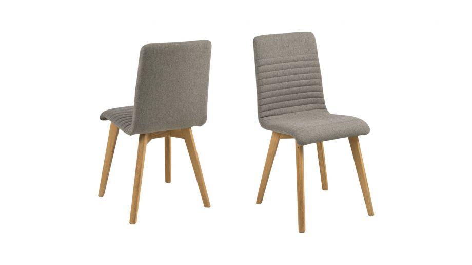 Lot de 2 chaises en tissu gris clair piètement conique en bois – Collection Arosa