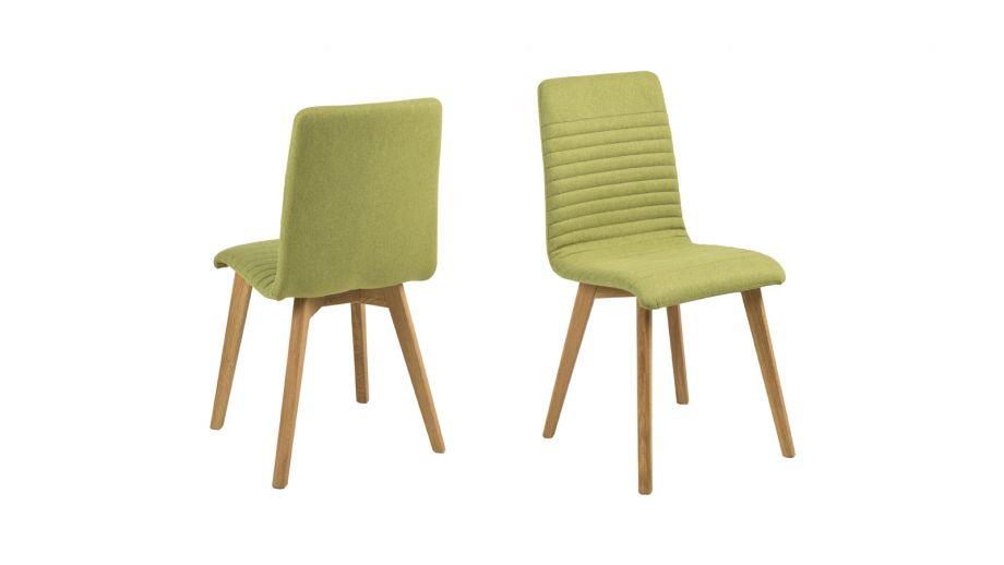 Lot de 2 chaises en tissu vert anis piètement conique en bois – Collection Arosa