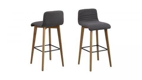 Lot de 2 tabourets de bar en bois et tissu anthracite – Collection Arosa