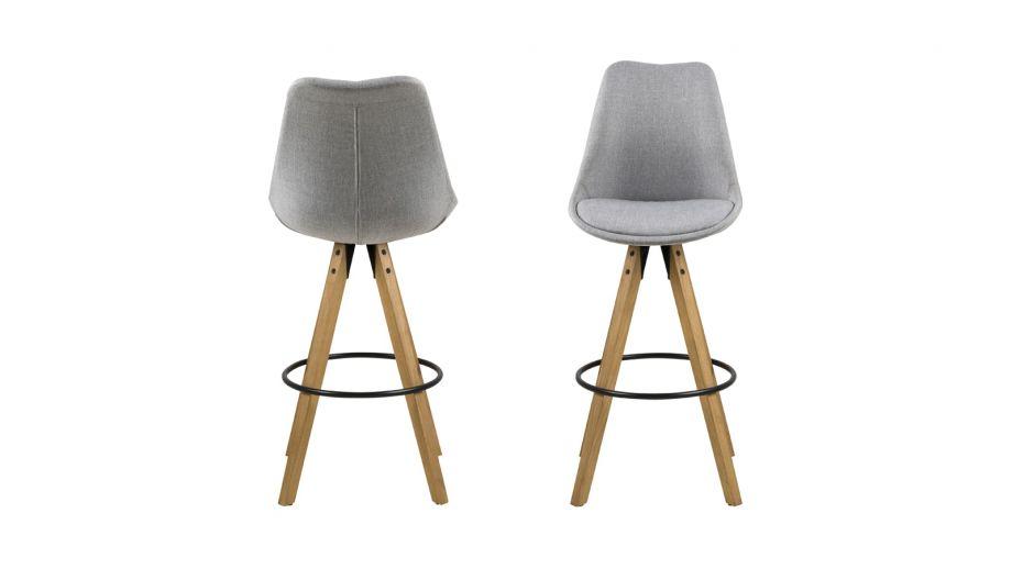 Lot de 2 tabourets de bar scandinaves en tissu gris clair et bois – Collection Dima
