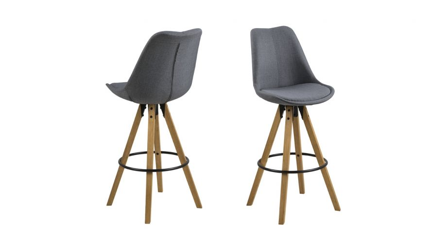 Lot de 2 tabourets de bar scandinaves en tissu anthracite et bois – Collection Dima