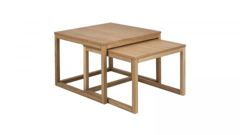 Lot de 2 tables basses 70x70x50 en chêne – Collection Cornus
