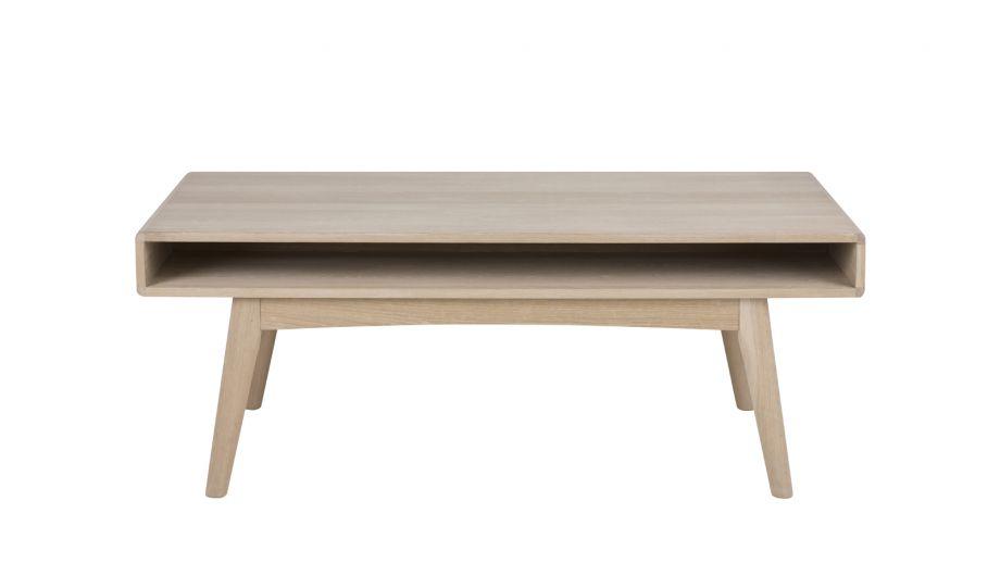 Table basse en chêne avec niche de rangement – Collection Marte