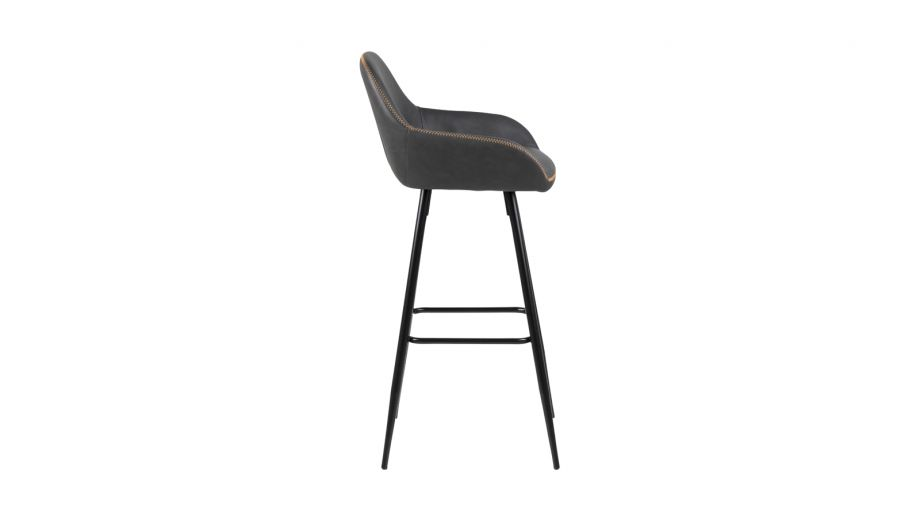 Lot de 2 tabourets de bar en simili cuir noir et piètement conique en métal – Collection Candis
