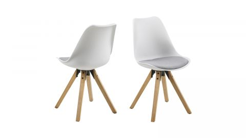 Lot de 2 chaises en polypropylène blanc – Collection Dima