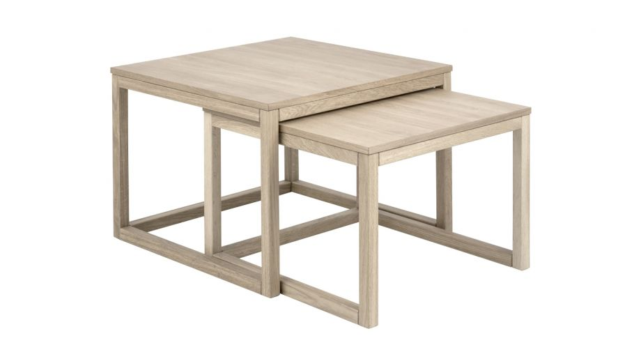 Lot de 2 tables basses 70x70x50 en chêne clair – Collection Cornus