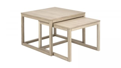 Lot de 2 tables basses 70x70x50 en chêne clair – Collection Cornus