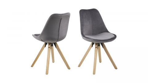 Lot de 2 chaises en velours gris – Collection Dima