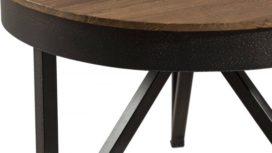 Gøran - Table basse ronde d'appoint 50 x 50 cm bois et métal