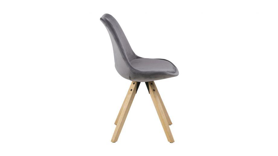 Lot de 2 chaises en velours gris – Collection Dima