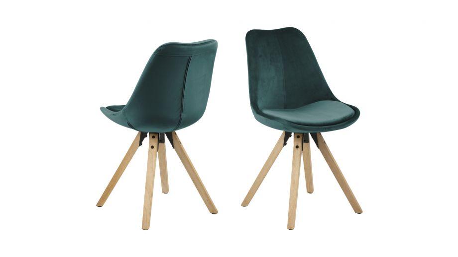 Lot de 2 chaises en velours vert bouteille – Collection Dima