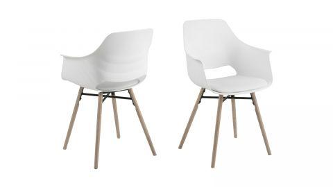 Lot de 2 fauteuils repas en PVC blanc piètement conique en bois – Collection Ramona