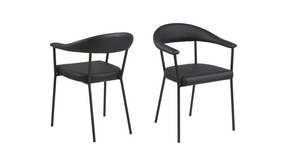 Lot de 2 chaises en simili cuir noir avec accoudoirs – Collection Ava