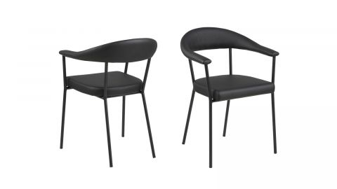 Lot de 2 chaises en simili cuir noir avec accoudoirs – Collection Ava