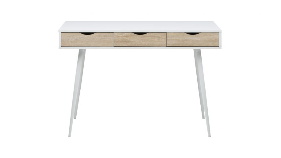Bureau blanc style scandinave 3 tiroirs – Collection Neptun