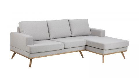 Canapé d'angle droit 3 places et méridienne en tissu gris clair – Collection Norwich