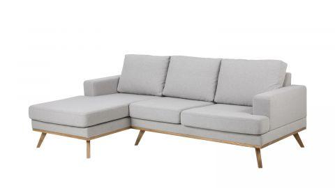 Canapé d'angle gauche 3 places et méridienne en tissu gris clair – Collection Norwich
