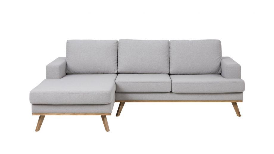 Canapé d'angle gauche 2 places et méridienne en tissu gris clair – Collection Norwich