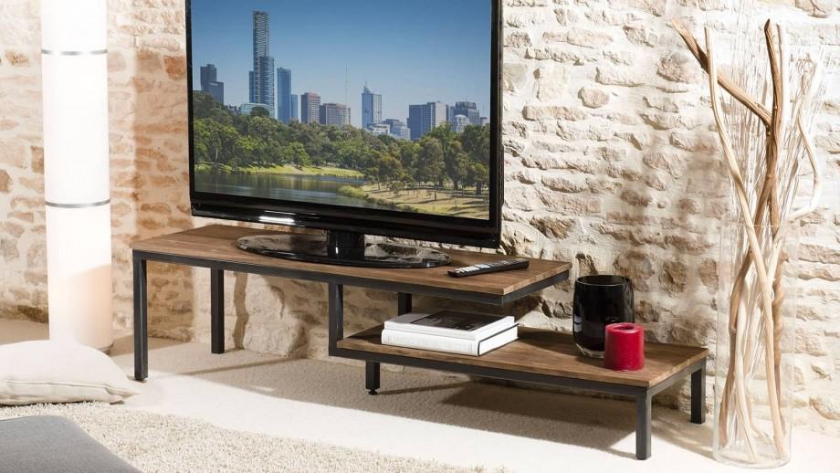 Gøran - Meuble tv 2 tablettes bois et métal