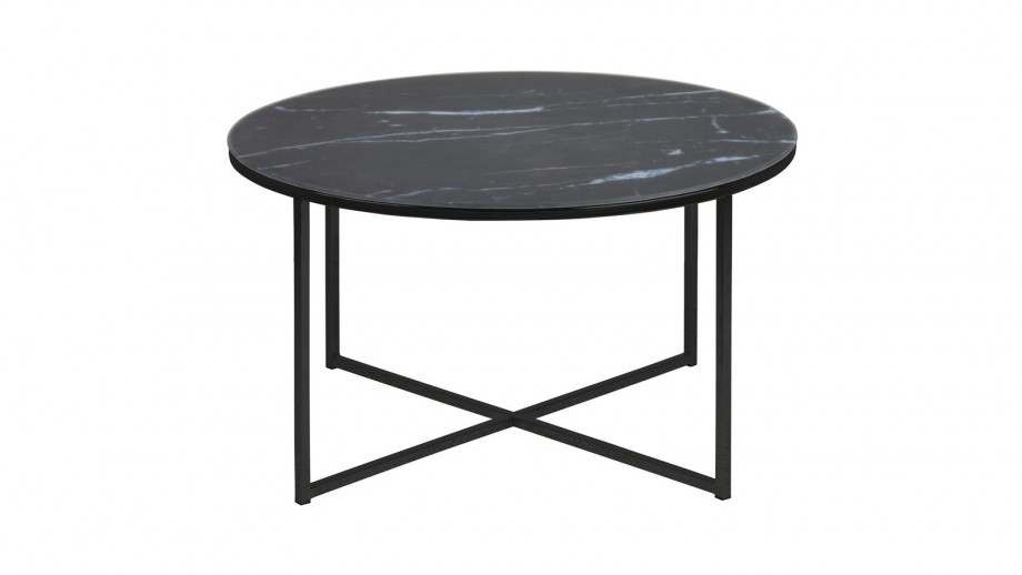 Table basse ronde en marbre et métal noir – Collection Alisma