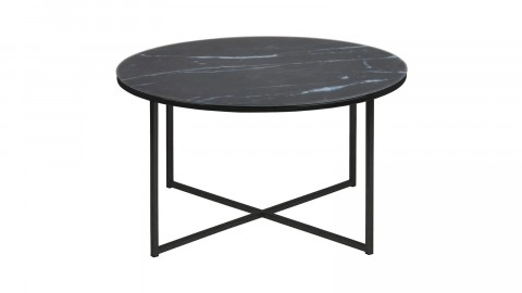 Table basse ronde en verre et métal noir – Collection Alisma