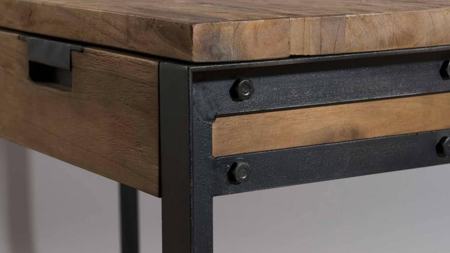 Gøran - Bureau 2 tiroirs bois et métal