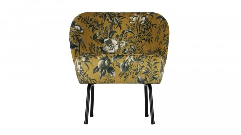 Fauteuil en tissu moutarde imprimé floral - Collection Vogue - BePureHome