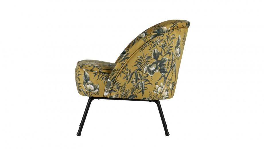 Fauteuil en tissu moutarde imprimé floral – Collection Vogue